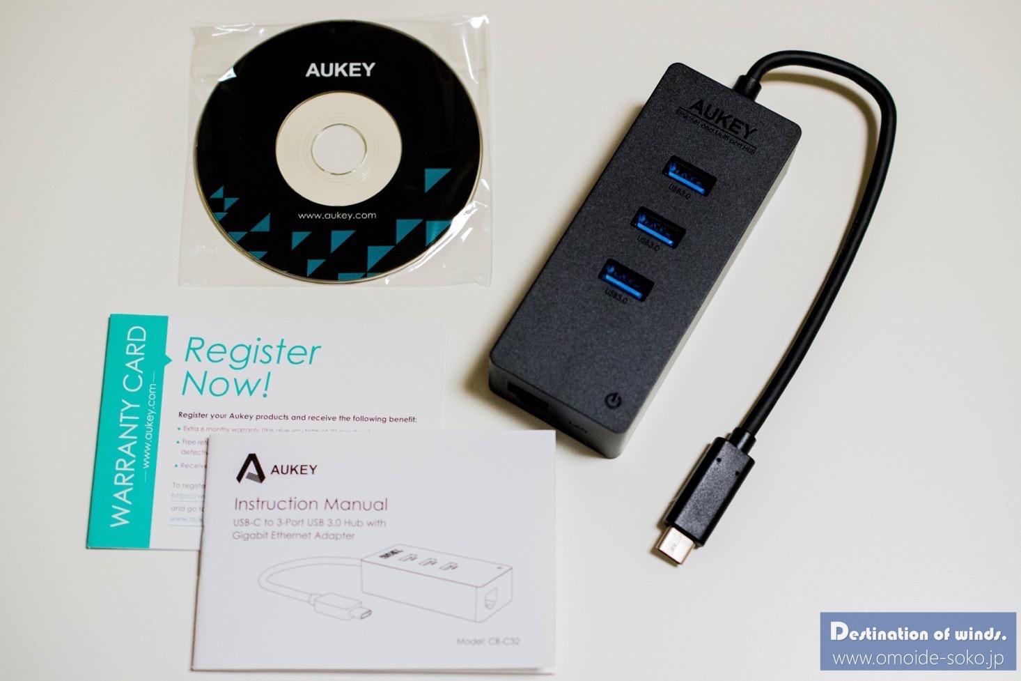 Aukey Type-C USB-C USB3.0 3ポートハブ LANアダプター 01