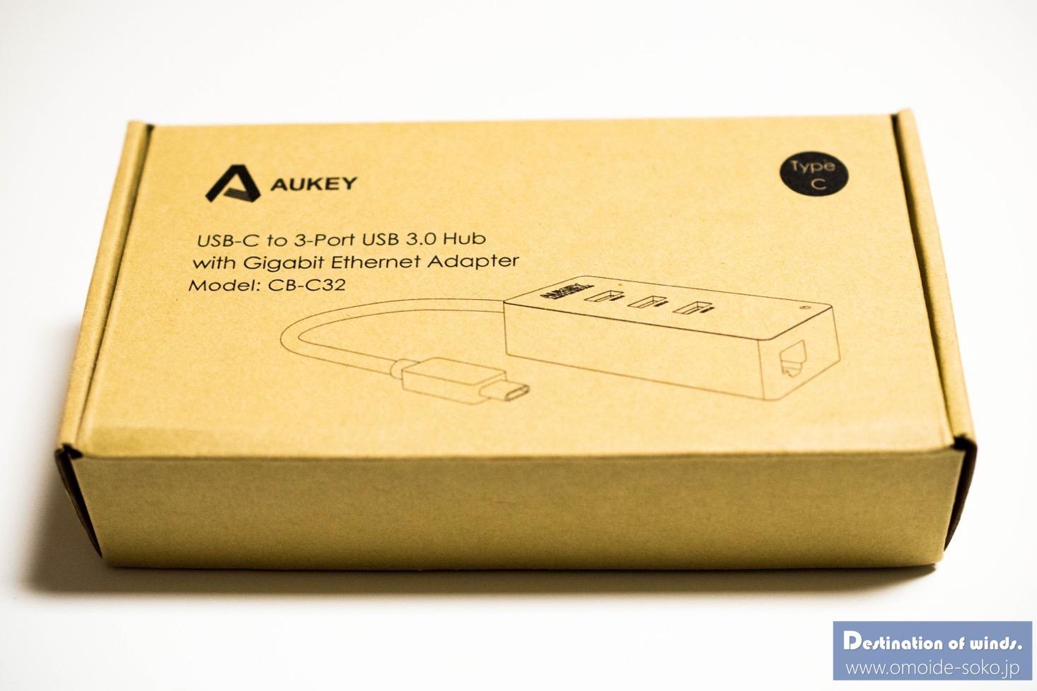 Aukey Type-C USB-C USB3.0 3ポートハブ LANアダプター 02