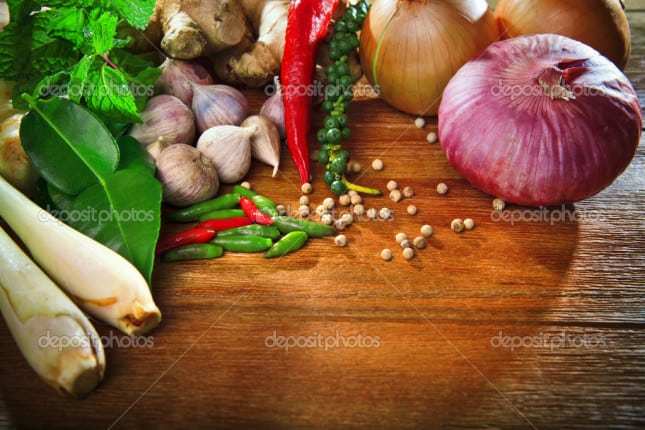 thai kitchen food spice herb pepper mint lemon grass red onion garlic chilly ginger for cooking original eastern food syle on top wood table