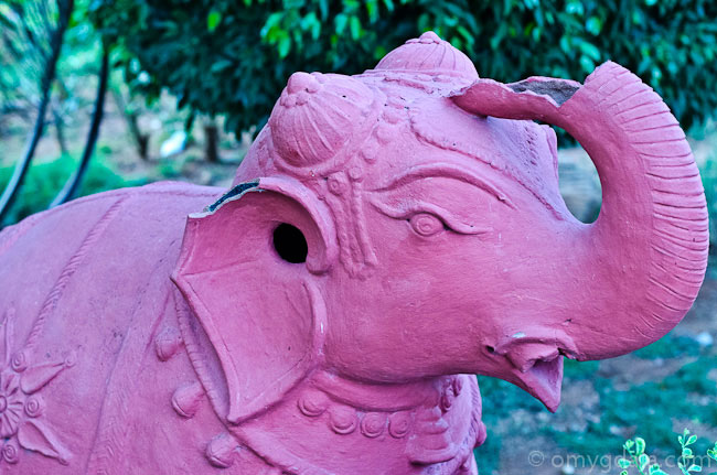 A terracotta elephant