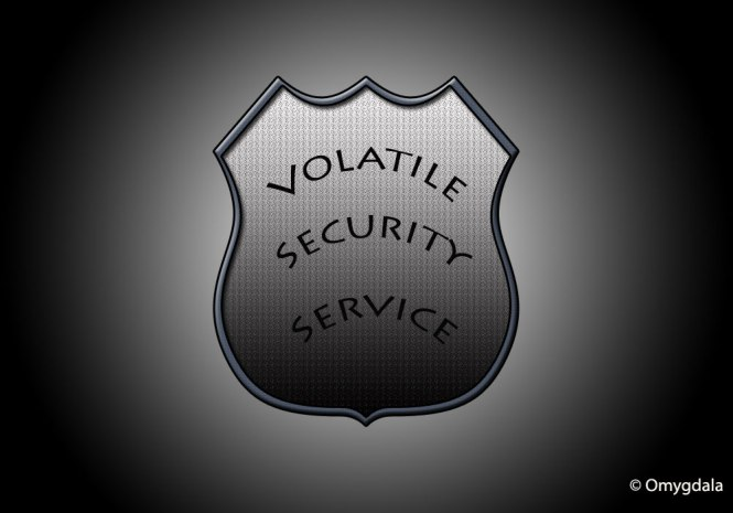 An insignia worn by security guards in India—Volatile Security Service