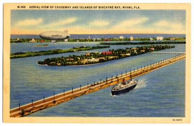Aerial views of the Miami Beach causeway