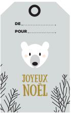 etiquettes cadeaux de noel ours polaire à télécharger et imprimer - free printable - freebies