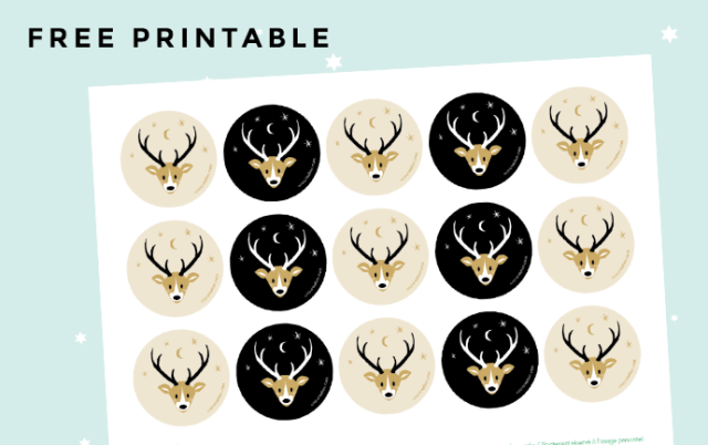 Free printable Deer circle tag stickers