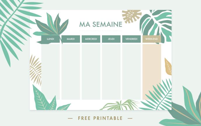 Week planner free printable - semainier planning hebdomadaire gratuit à télécharger