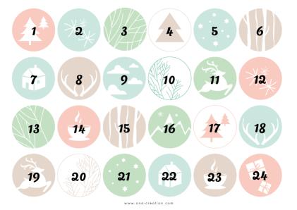 Stickers numéros calendrier de l'Avent printable gratuit à télécharger