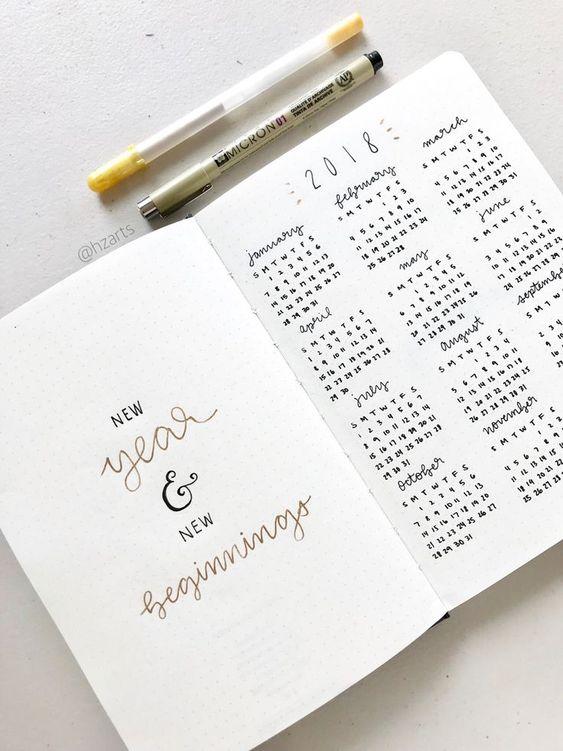 Year Calendar - calendrier annuel - Bullet Journal - Hzarts