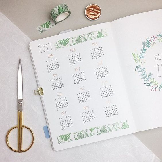 year calendar - calendrier annuel - bullet journal