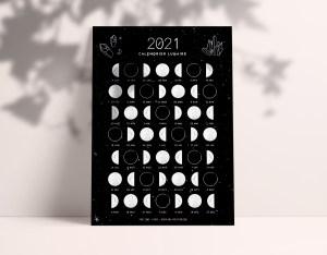Calendrier lunaire 2021 - Ona creation - Idées cadeaux créateur Etsy - Moon calendar - postcard - phase de la lune