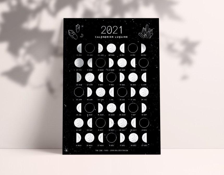 Calendrier lunaire 2021 - Ona creation - Idées cadeaux créateur Etsy