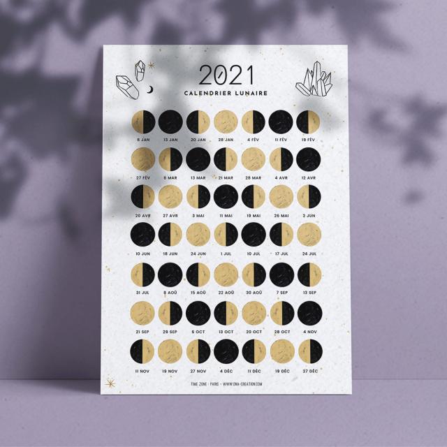 Calendrier lunaire 2021 à télécharger et imprimer, printable moon calendar 2021, witch - Ona creation - Idées cadeaux créateur Etsy