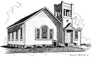 line drawing of 1907 Onalaska Methodist Church