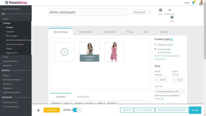 Prestashop 1.7 admin product edition page