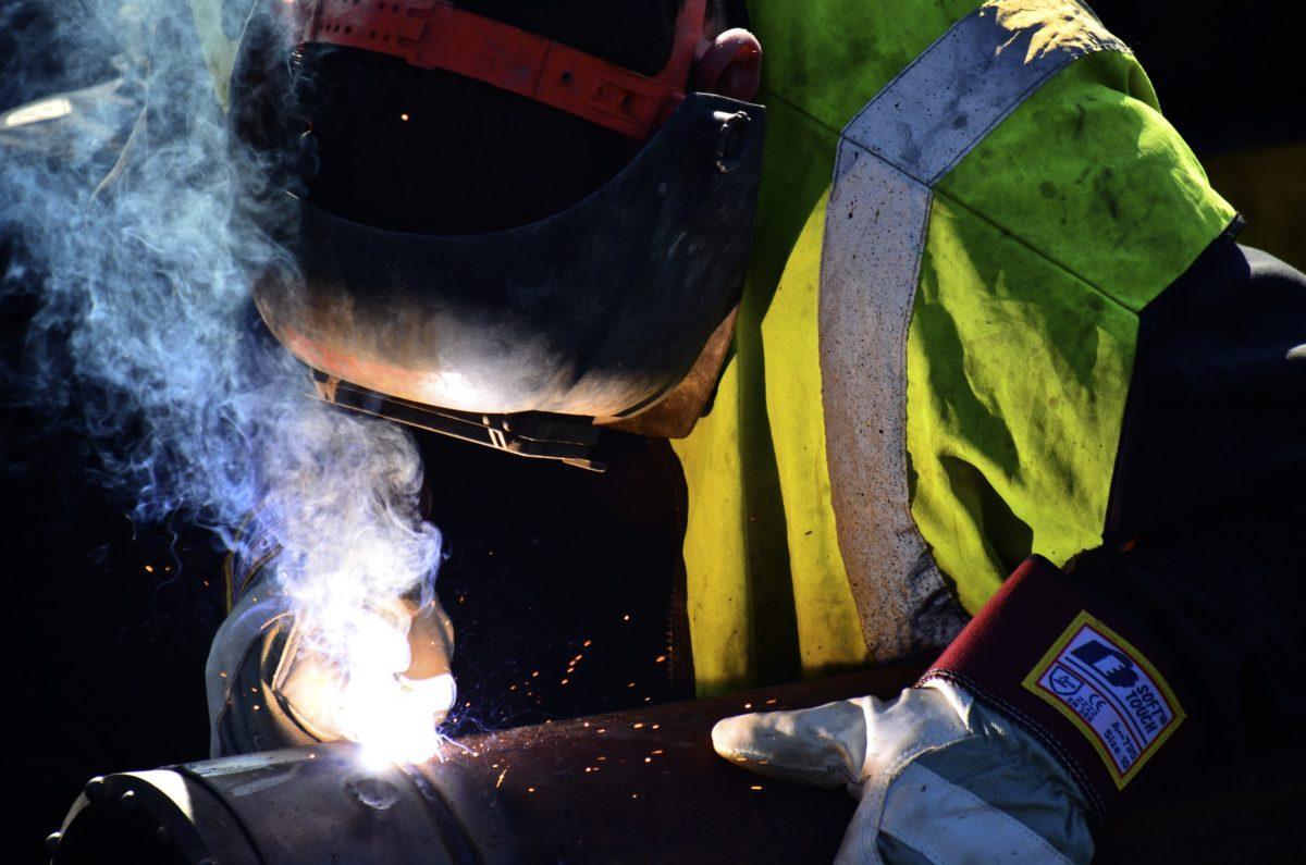 A welder works in Stockholm, Sweden.