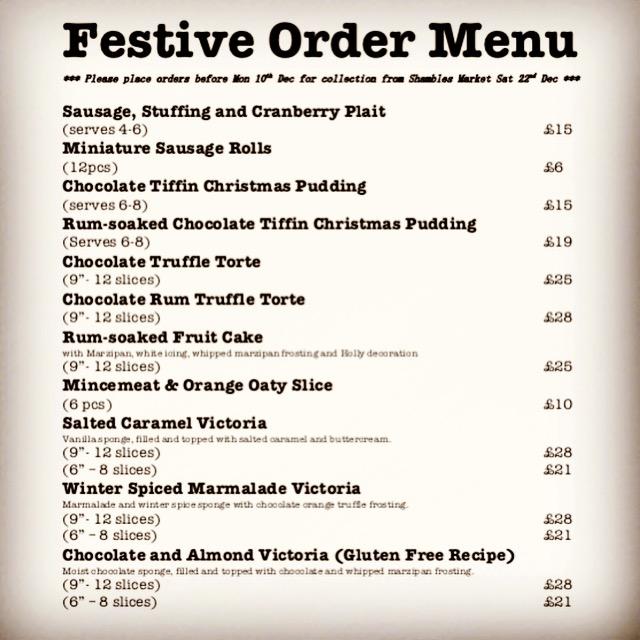 Festive Order Menu