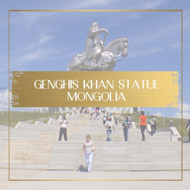 Genghis Khan equestrian statue in Mongolia feature