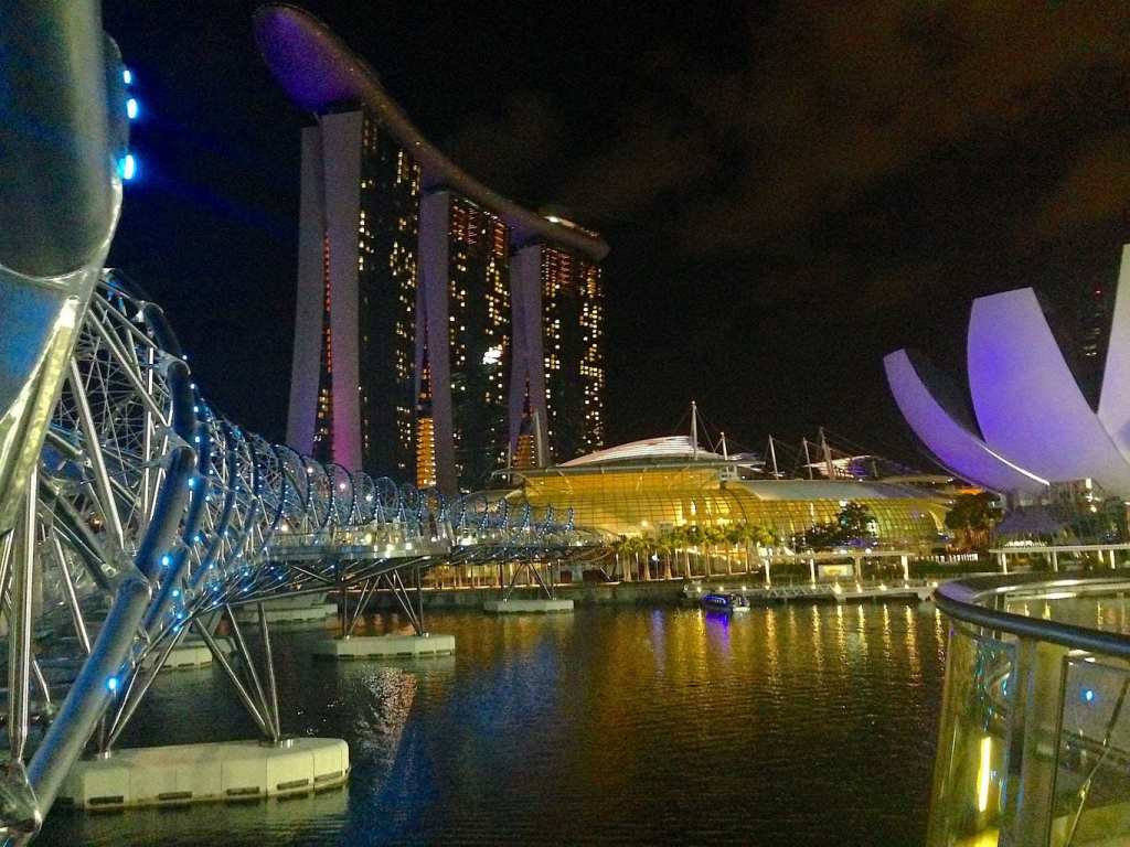 View of the Helix Bridge at night