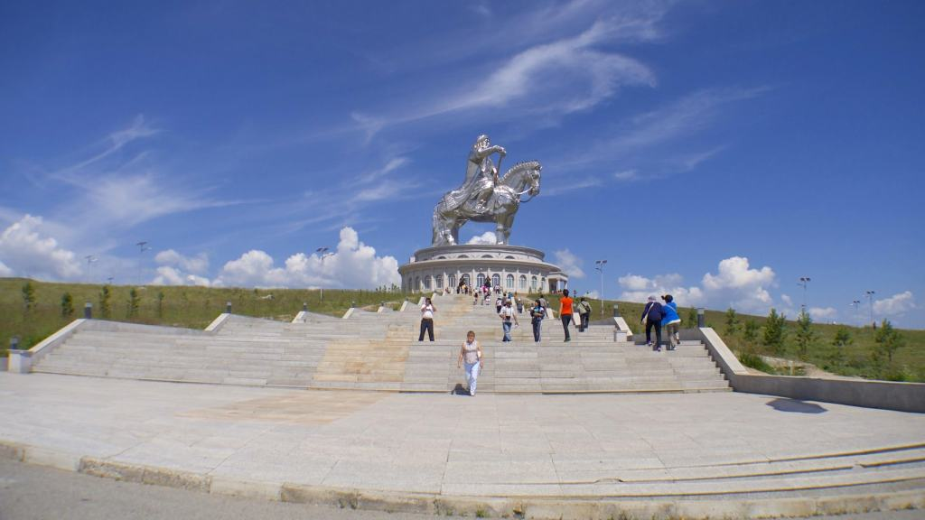 Wide angle shot of the Genghis Khan Equestrian Statue in Mongolia
