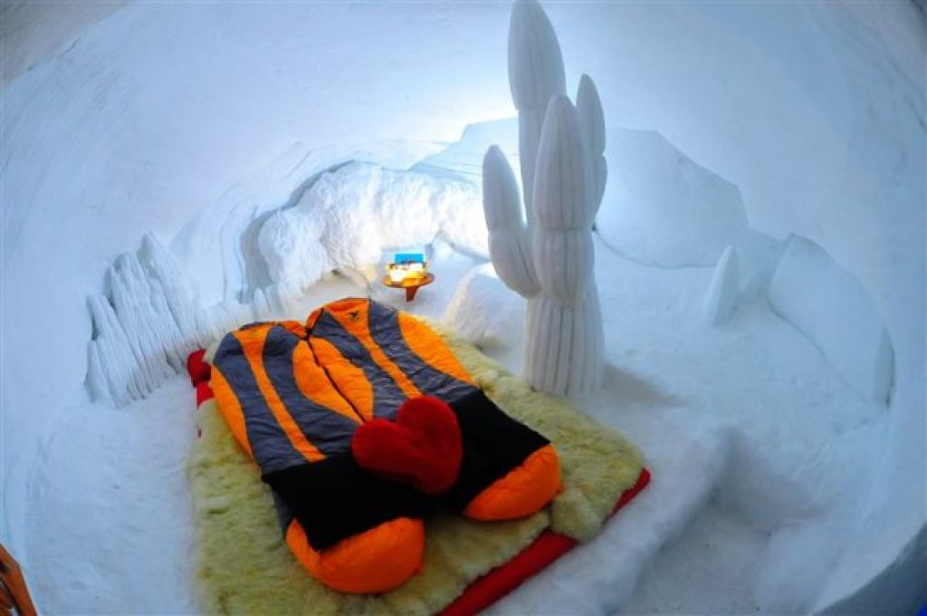 Interior of the igloo ice hotel