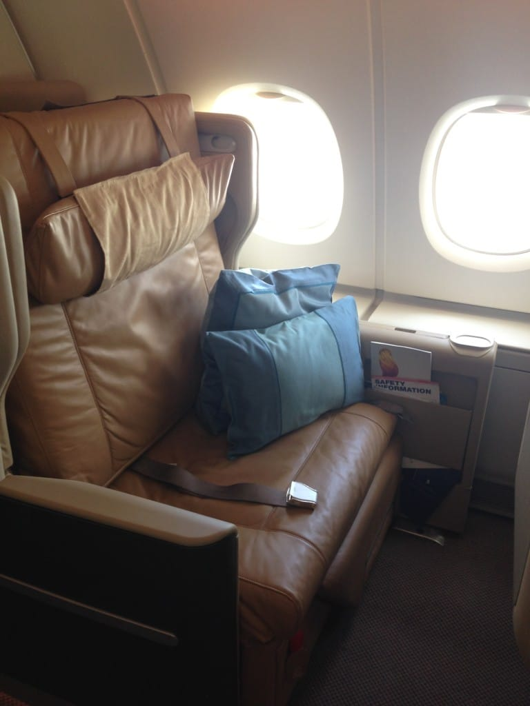 Singapore Airlines A380 Business Class seat