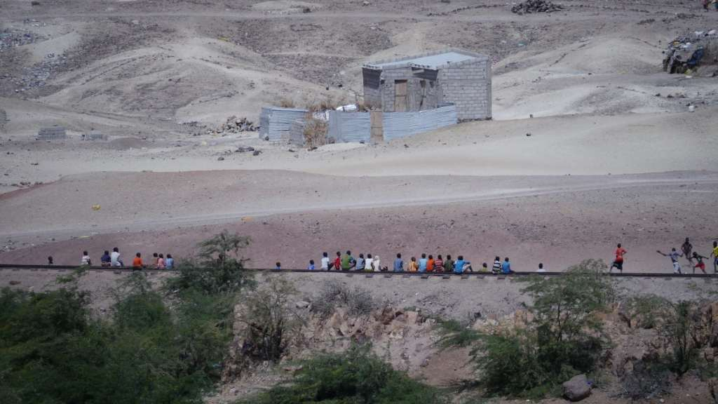 Children sit on the Ethiopian railway