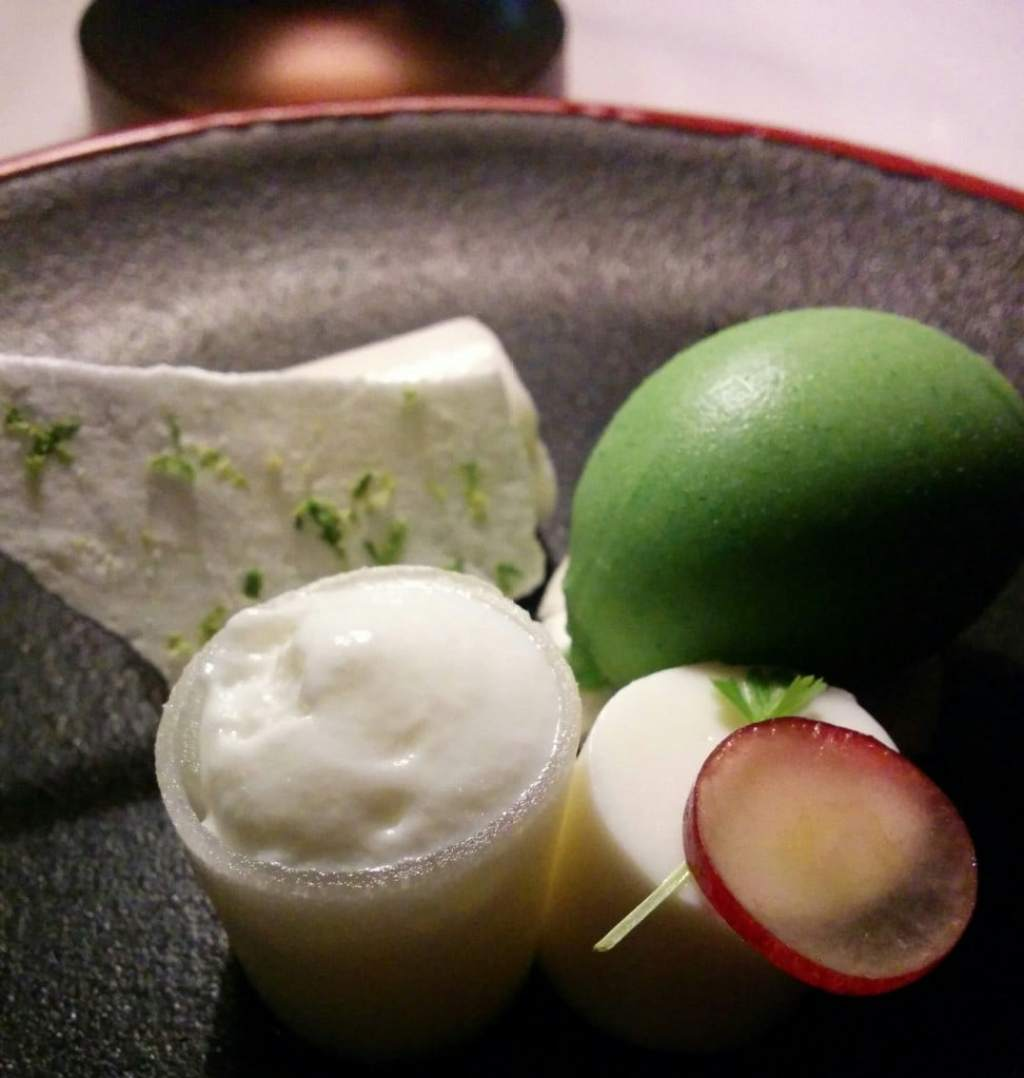 Milk curd panacotta with piel de sapo melon, grapes and mint sorbet
