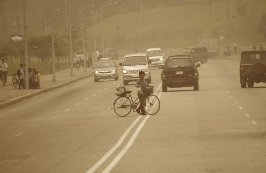Crossing the road in Pyongyang