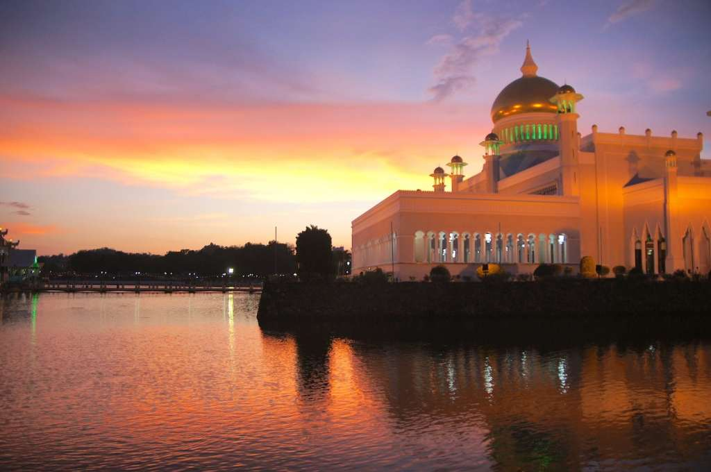 """Brunei's mosque at sunset"""