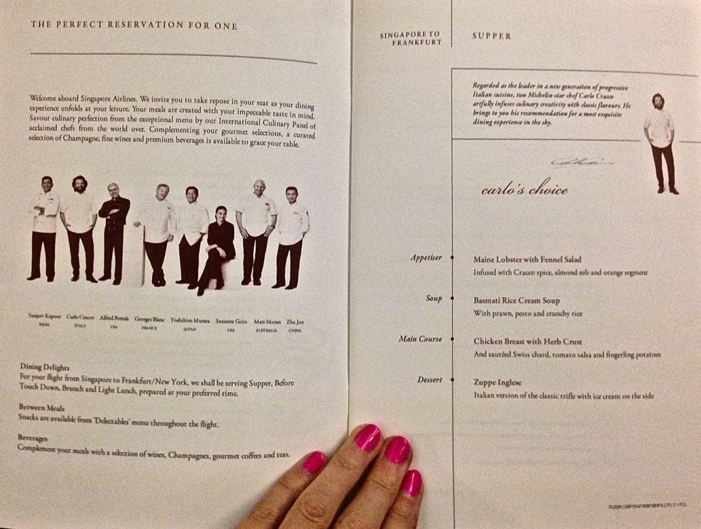Singapore Airlines Suites menu