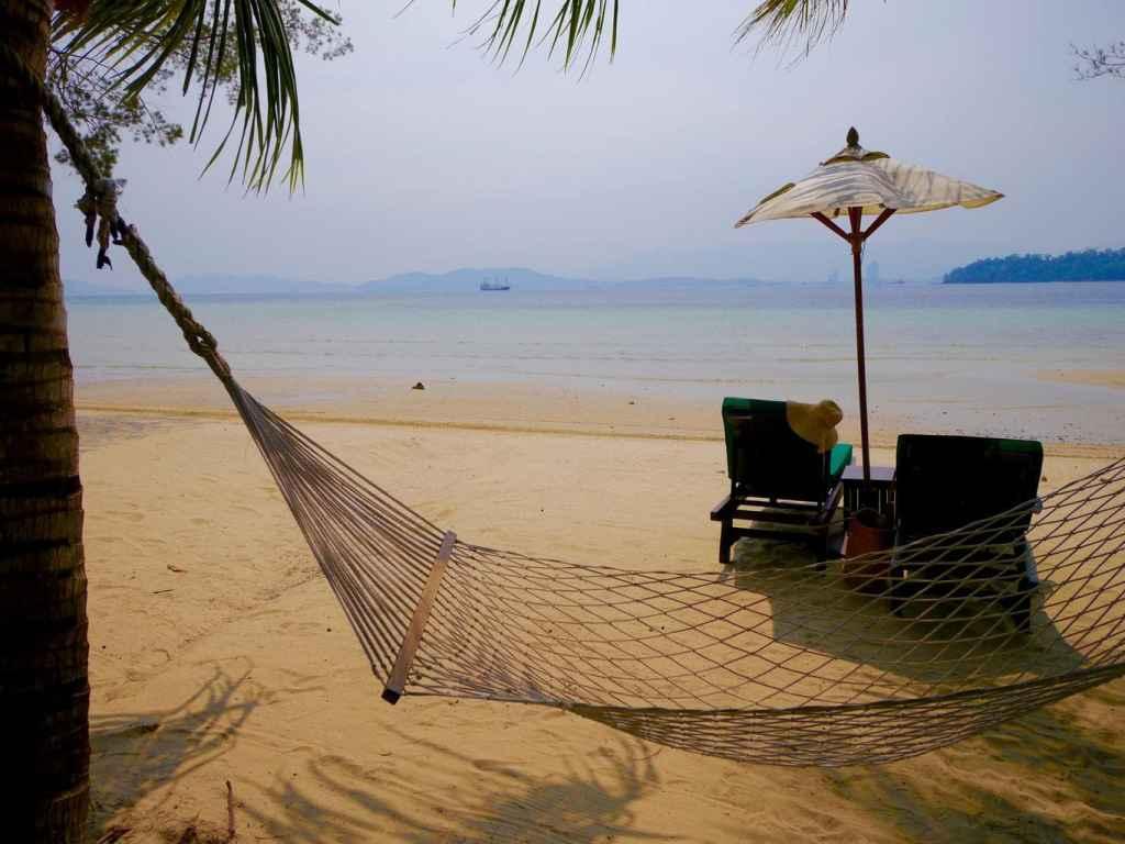 A hammock on the main beach
