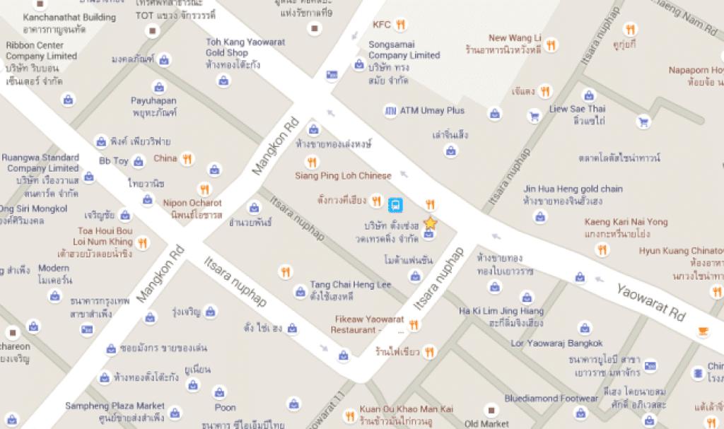 Map of Bangkok Chinatown