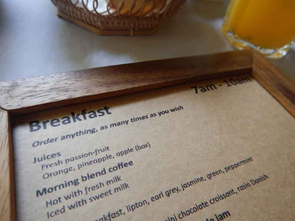 Breakfast menu at The Pavilion Phnom Penh