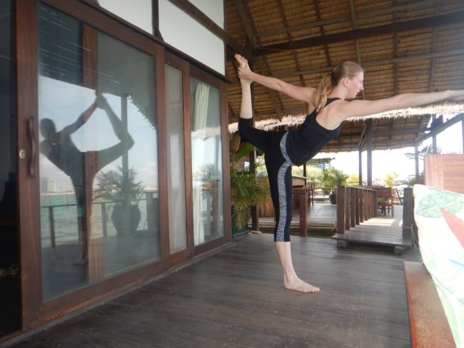 'Morning yoga at the Moekong Bungalows""