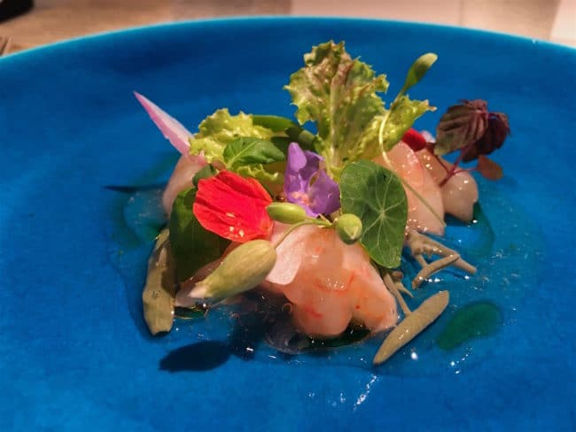 """Botan shrimp, Water shield at Narisawa"""