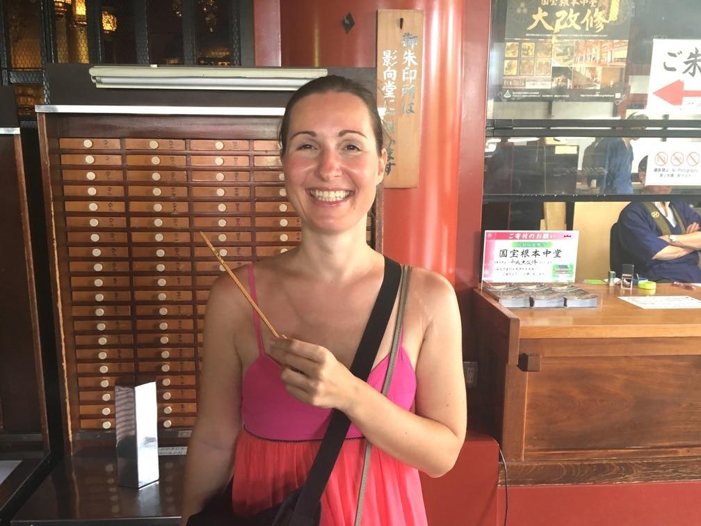 Checking my fortune at Senso-ji