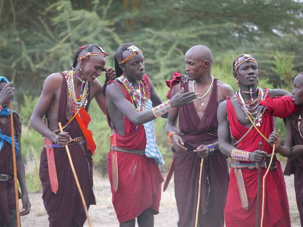 Masai tribesmen laughing