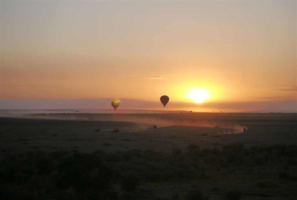 Hot air balloon over Maasai Mara on a classic safari in Kenya