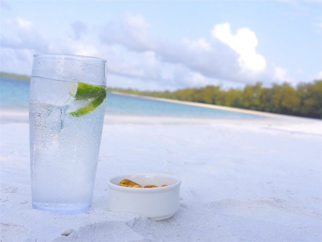 """Gin and tonic on the beach in Tanzania"""