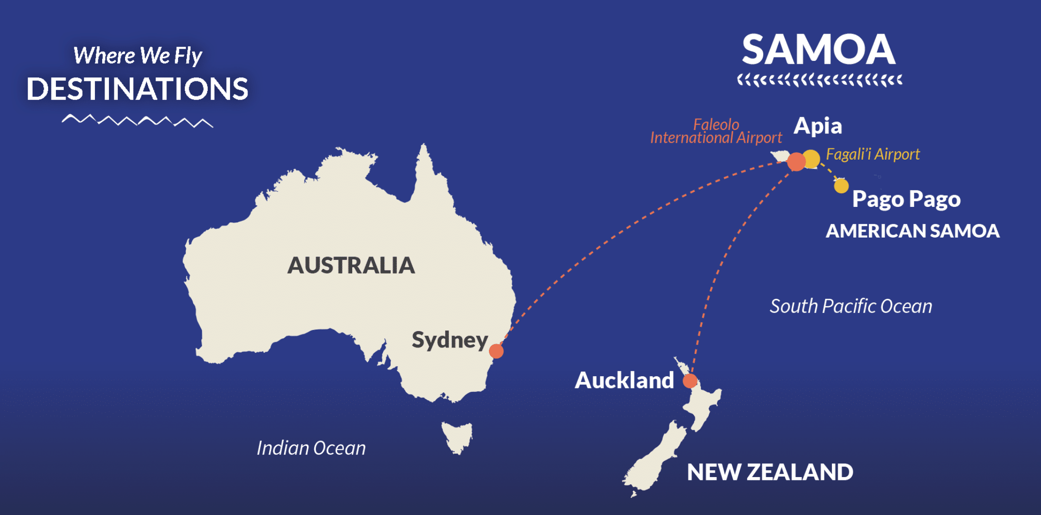 """Route map Samoa Airlines'"