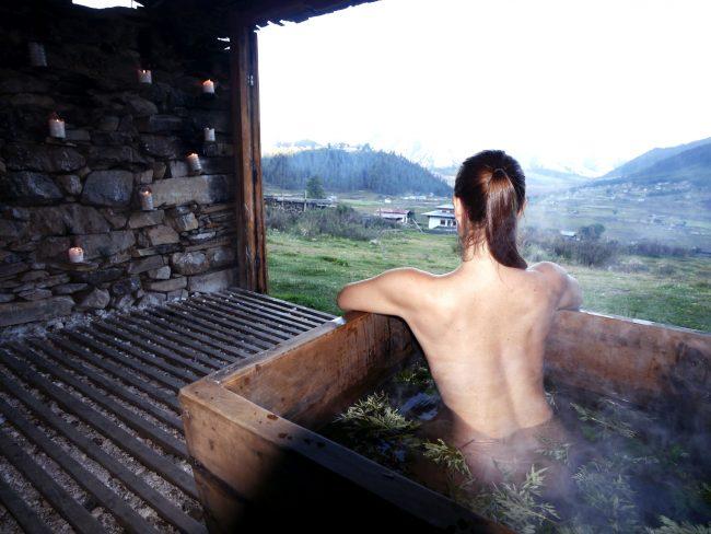 """Hot stone bath in Bhutan"""