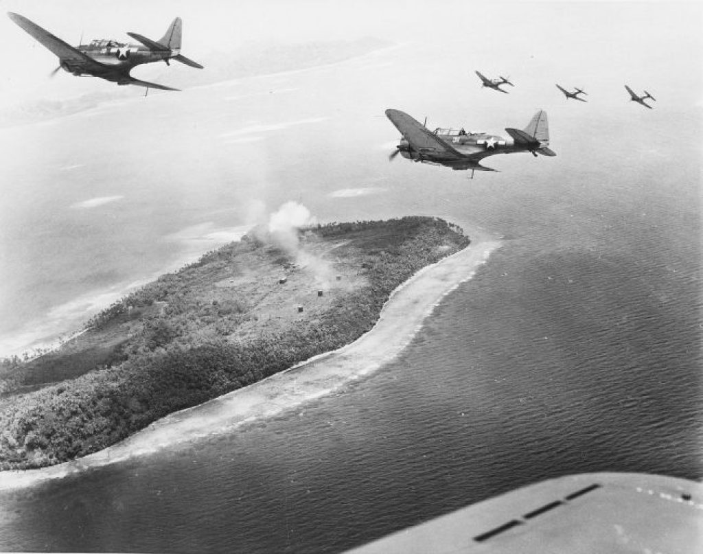 Dive bomber over Chuuk in 1944