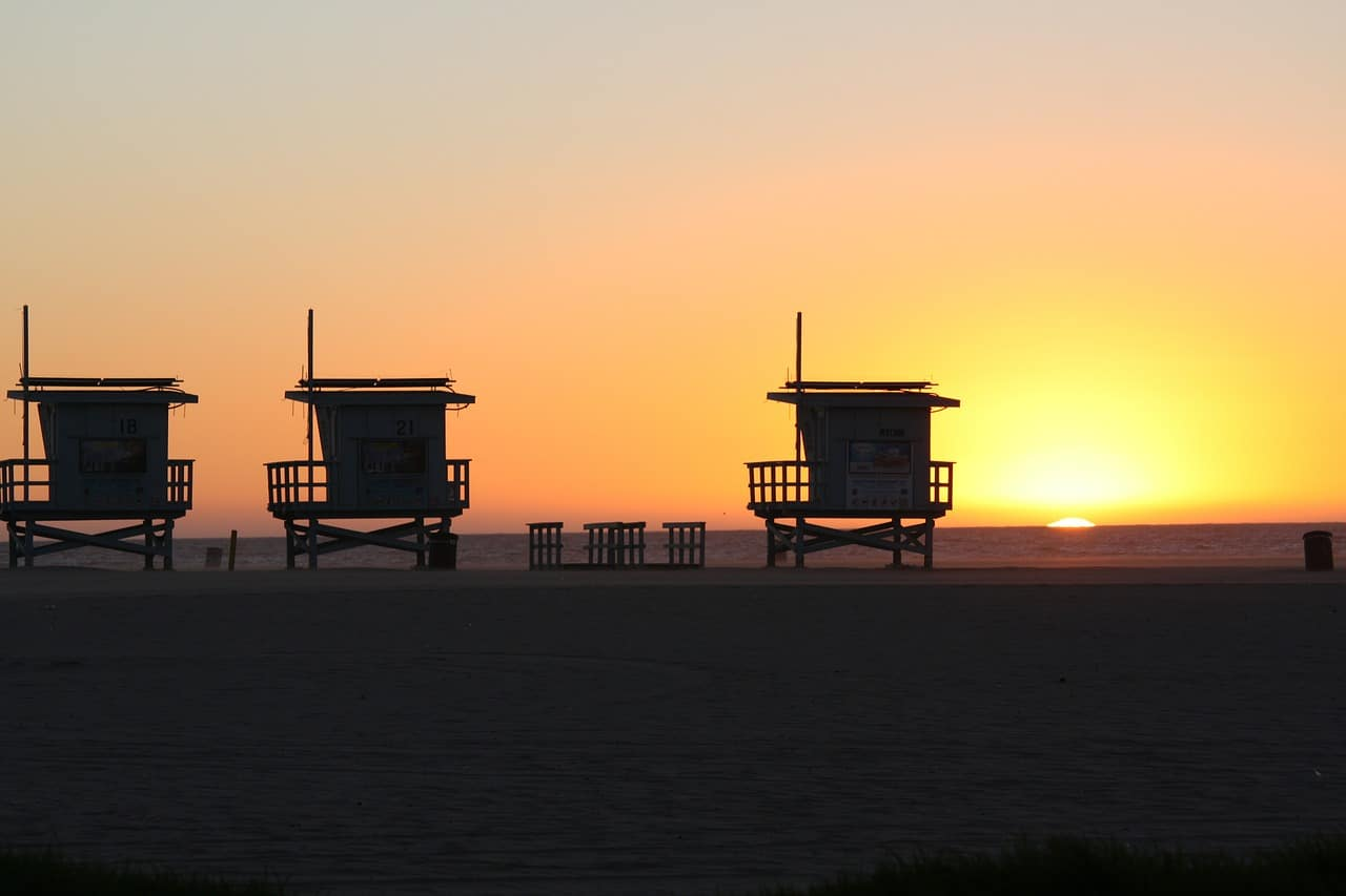 The iconic Venice Beach lifeguard towers