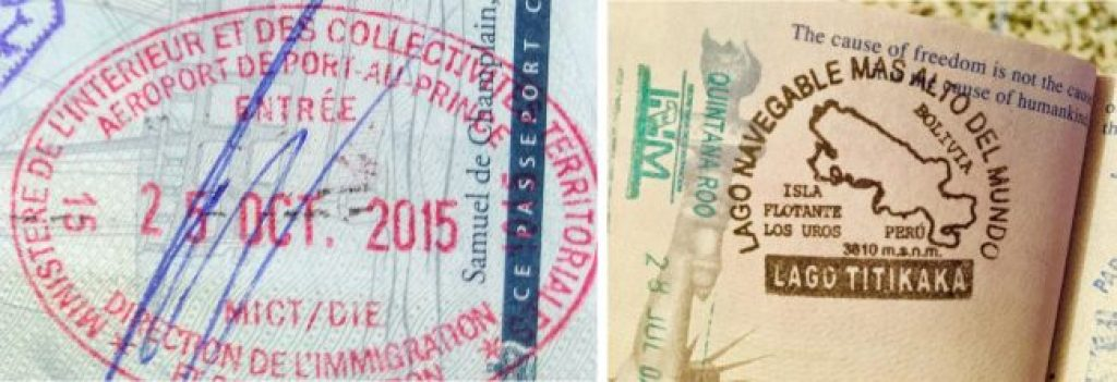 Passport stamps for Haiti and Lake Titicaca