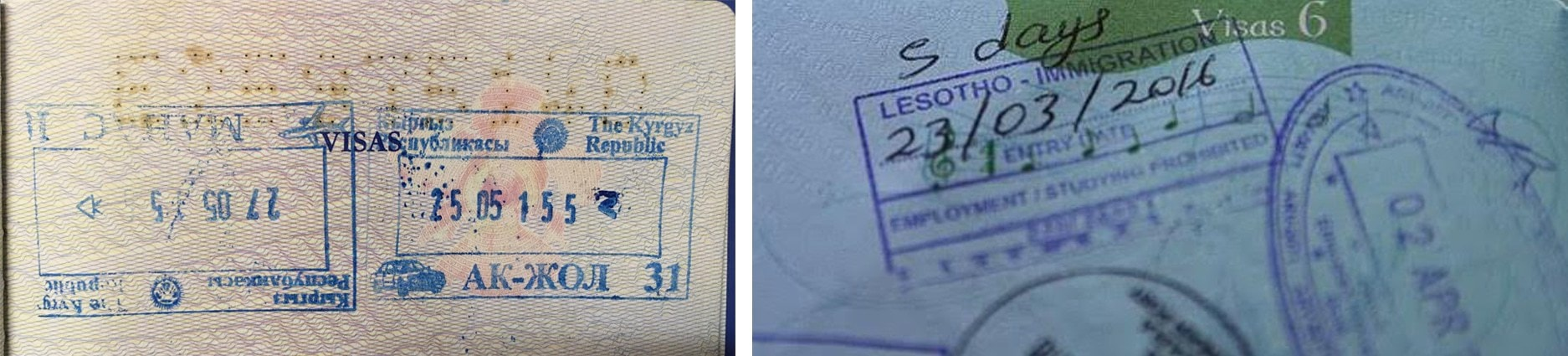 Passport stamp for Kyrgyzstan and Lesotho