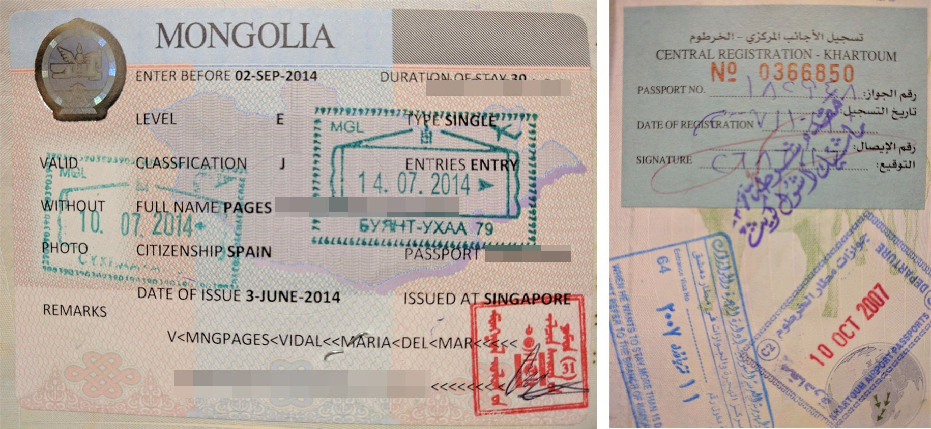 Passport stamp for Mongolia and North Sudan