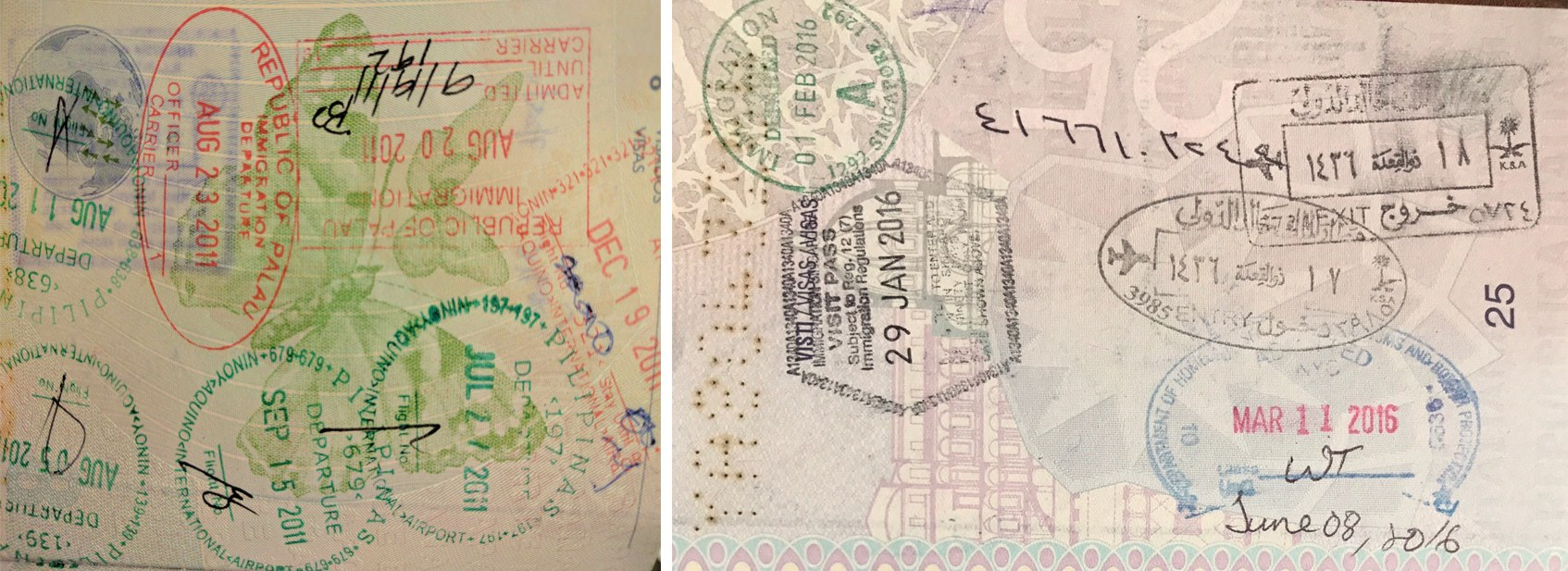 Passport stamps for Palau and Saudi Arabia