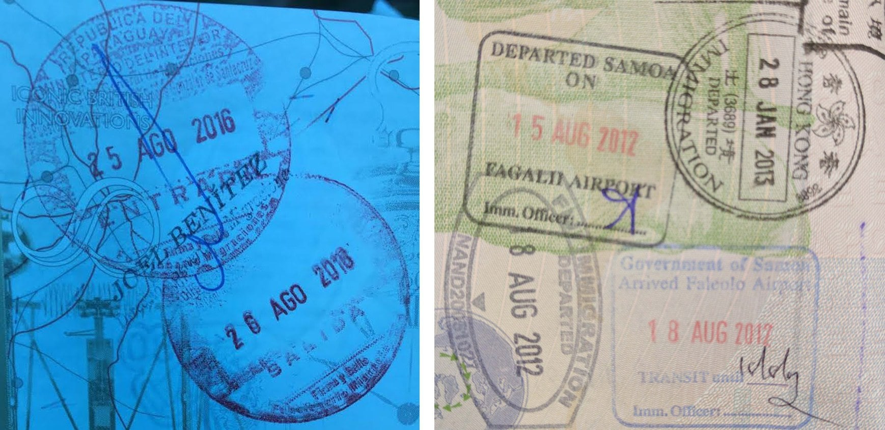 Passport stamp for Paraguay and Samoa
