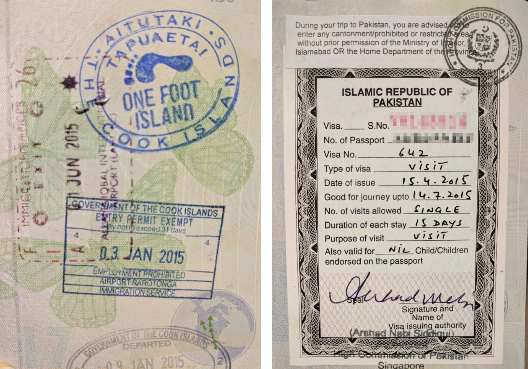 Passport stamps for One Foot Island and Pakistan