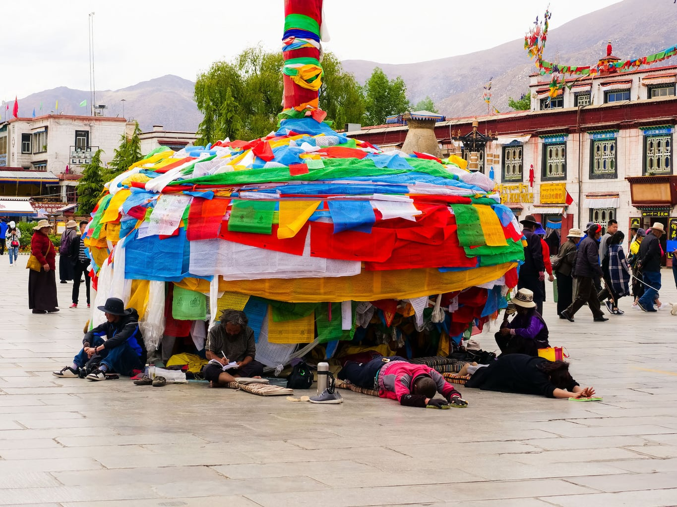 Postrations at Jokhang temple square