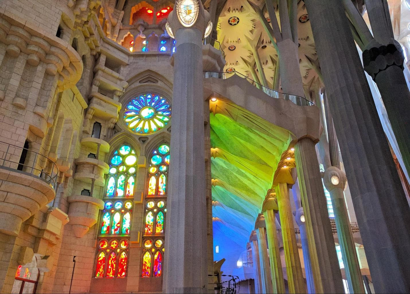 The light coming through the stained glass of the Sagrada Familia